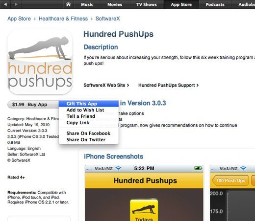 Hundred Push-Ups iPhone App
