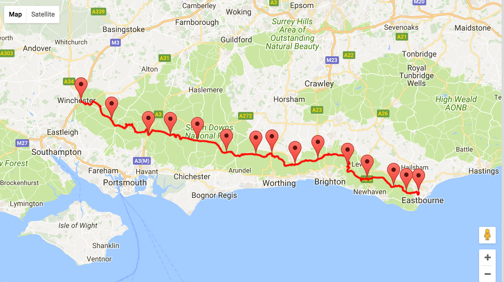 Winchester to Eastbourne